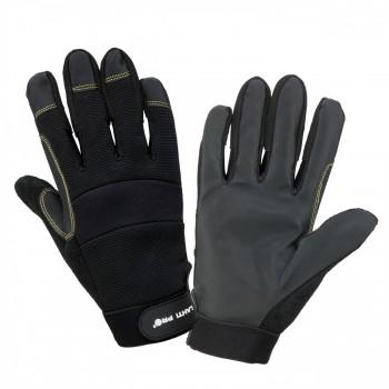 Handskar för mekaniker, st. 8, svart syntetskinn, PVC, ventilerade, CE, EN 420, Lahti Pro L2810