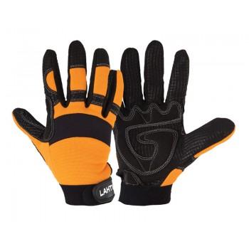 Handskar för mekaniker, st. 10, svart-orange, spandex, silikonnät, SBR gummi, CE, EN 420, Lahti Pro L2801