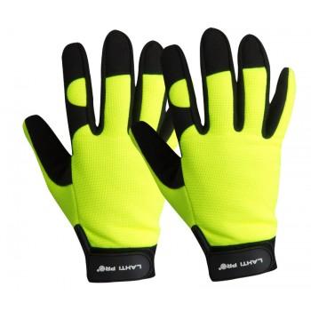 Handskar för mekaniker, st. 10, svart-gula, mikrofiber, spandex, polyester, CE, EN 420, Lahti Pro L2803