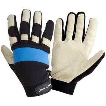 Handskar av äkta grisskinn, st. 10, svart-blå-vita, ventilerade, spandex, mikrofiber, CE, EN 420, Lahti Pro L2804