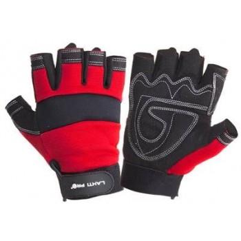 Handskar för mekaniker, st. 10, svart-röda, utan fingrar, ventilerade, spandex, mikrofiber, CE, EN 420, Lahti Pro L2806
