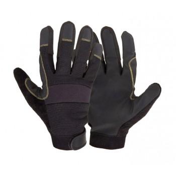 Handskar för mekaniker, st. 10, svart syntetskinn, PVC, ventilerade, CE, EN 420, Lahti Pro L2810