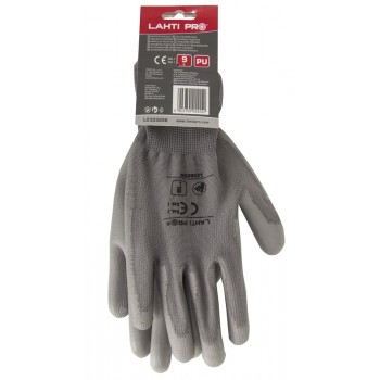 GLOVES PU PINK L230308  P, CARD, '' 8  '' , CE, LAHTI