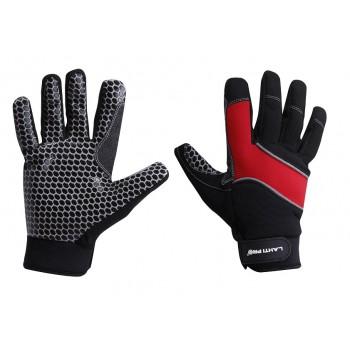 Handskar för mekaniker, st. 11, glidskydd, svart-röda med reflex, mikrofiber, polyester, silikon, PVC, CE, EN 420, LahtiPro L2811