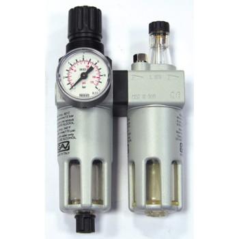 Begränsare för tryckluft med filter och oljefuktare FRL-180 1/4'' 0-10 bar, 14 bar innuti