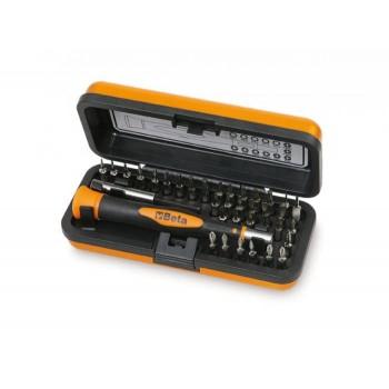 Bits, 4mm, sats 36 delar, microskruvmejselhandtag med magnetiskt förlängare, Beta