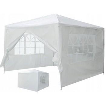 Paviljong 3x3m, 4 väggar med plastfönster (tält, trädgårdstält, partytält), vit, grön eller blå