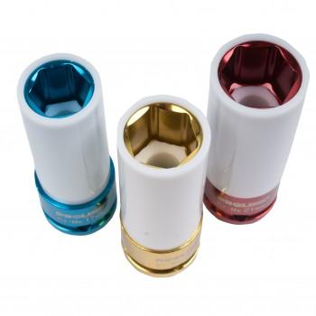 """Krafthylsa, fälghylsa 1/2"""" 17-19-21-22mm (för alufälgar)  CR-MO, Proline"""