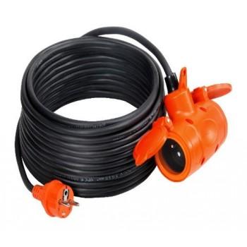 Skarvkabel, förlängsningskabel, svart RR PS-200G IP44/3*2.5/10M 2GS CE