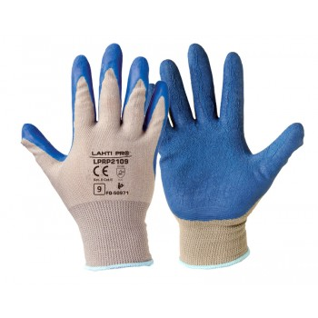 "GLOVES LATEX BLUE-GREY L210409P, 12   PAIRS, "" 9"" , CE, LAHTI"