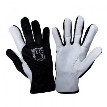 Handskar, äkta getskinn, bomull, spandex, st.  8, svart-vita, XL, CE, EN 420, EN 388, skyddskat. 2, Lahti L2707