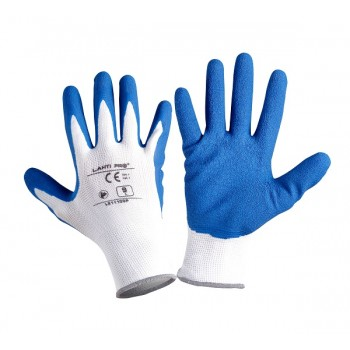 "GLOVES LATEX NAVY-WHITE L211110P, 12   PAIRS, "" 10"" , CE, LAHTI"
