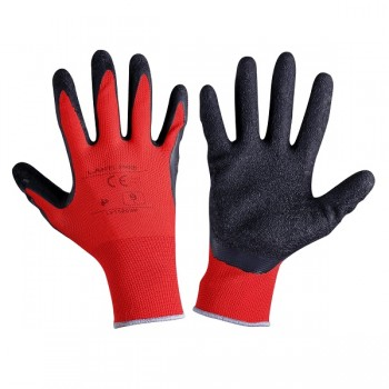 "GLOVES LATEX BLACK-RED L2112  09P, 12   PAIRS, "" 9"" , CE, LAHTI"