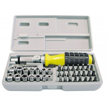 Skruvmejsel handtag med spärr och led, sats med hyslor och bits 40 st, plastbox