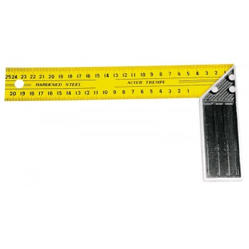 Vinkelhake med linjal på båda sidor, stål, gul-svart, 250mm