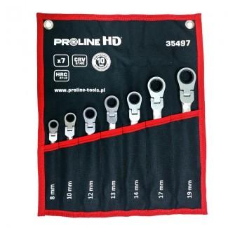 """Kombinyckelstas, blocknyckel, ringnyckel med spärr ledad, sats 7st 8-19mm, 72 kugg, """"Heavy Duty"""" Proline HD"""