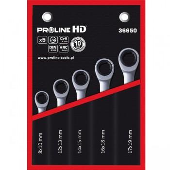 Ringnycklar med spärr, sats 5 st. 8-19mm, CRV, PROLINE HD