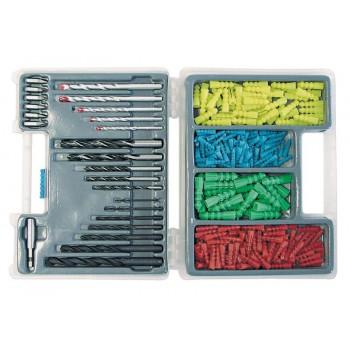 300st WALL PLUG AND DRILL sats. DRILLS för METAL: 2.3.4.5.6.8  .10MM, DRILLS för trä: 4.5.6.8  .10MM, Betongborr: 4.5.6.8  .10MM, BITS PH 1 AND 2, PZ1 AND 2 platt 5; 6.5MM , MAGNETIC BIT HOLDER AND WALL PLUGS 5.6.8  .10MM. PLASTIC BOX.