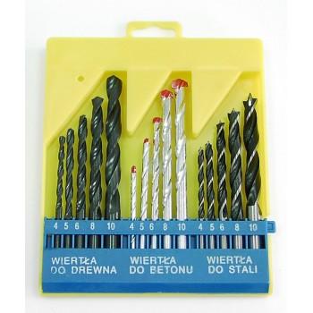15st DRILL sats. CONTENTS: DRILLS för METAL, för trä, MASONRY 4,5,6,8  ,10MM - 1OF EACH. ACKED IN PLASTIC BOX - gul WITH blå INSERT PART.