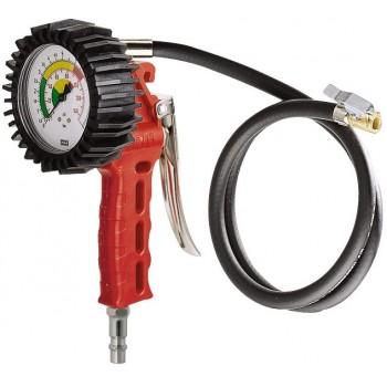 """Luftpåfyllare för bildäck, med tryckmätare 63mm, 0-12bar, 1/4"""" koppling, 50cm slang GAV"""