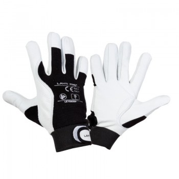 Handskar, äkta getskinn, st. . 9, svart-vita, skyddskat. 1, CE, EN 420, Lahti L2708