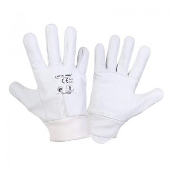 Handskar, äkta getskin, vita, st.  9, CE, EN 420, Lahti Pro L2711