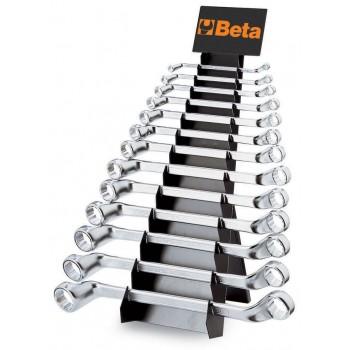 Ringnyckelsats i ställ, dubbel, bockad, 13st, 6x7mm-20x22mm, Beta 90/SP
