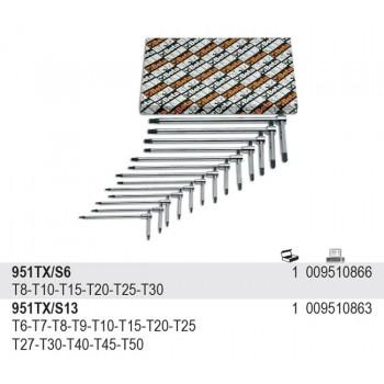 Torx T-handtag sats 6st, med tre ändar, Beta Tools