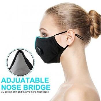 Andningsskydd 1st + 1st FFP3 N99 utbytbar filter, tvättbar andningsmask med ventil grå / svart / blå, 100% bomul, filter skyddar mot virus bakterier, m.m.