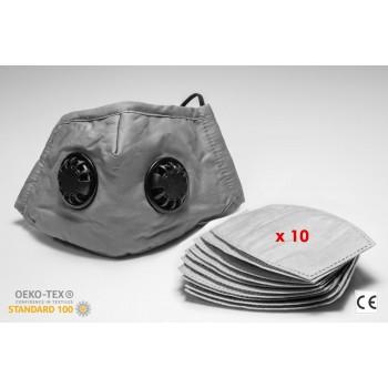 Andningsskydd med två ventiler + 10st utbytbara filter, tvättbar andningsmask, 100% bomull, skyddar mot virus bakterier, m.m. CE, N95 - N99, FFP2 - FFP3, PM2.5, grå