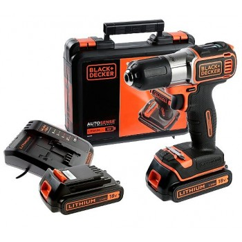Skruvdragare / Borrmaskin, sladdlös, AUTOSENSE 18V 1.5AH, 2 batterier, väska, Black+Decker