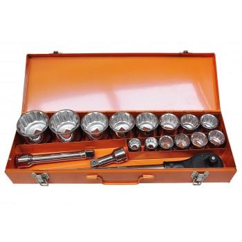 """Hylsnyckelsats med spärrskaft och förlängning, metalväska, 3/4"""", 18st 22-65mm"""