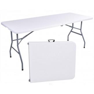 Campingbord 150cm vit, hopfällbart bord, utställningsbord, trädgårdbord