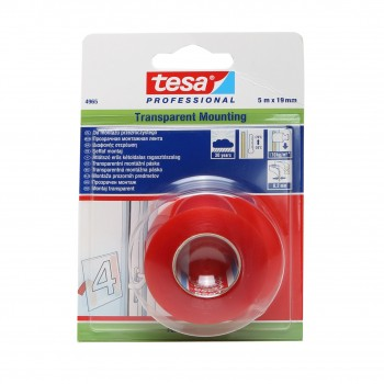 Monteringstape 19mm, 5 meter, transparen röd, Tesa