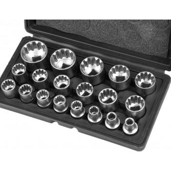 "Hylssats spline 1/2"" 12-kant 8-32mm, 19 delar"