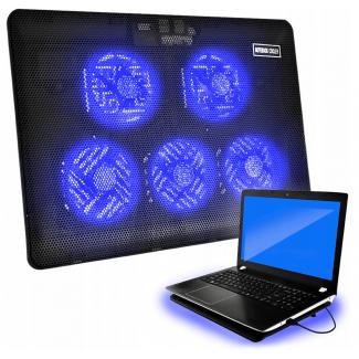 Laptop kylning, underlag med 5 kylfläktar, led, 3 hastigheter, drivs via USB - Iso Trade