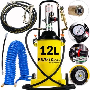 Smörjpump 12L tryckluftsdriven, komplett sats med tillbehör