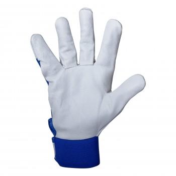 Läderhandskar, arbetshandskar av getskinn, blå-vita, CE, PSB