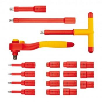 """Hylssats 1/2"""" 1000V 10-21mm, sats 19 delar inkl. sexkantsnycklar, spärrskaft, T-handtag m.m. Teng Tools"""