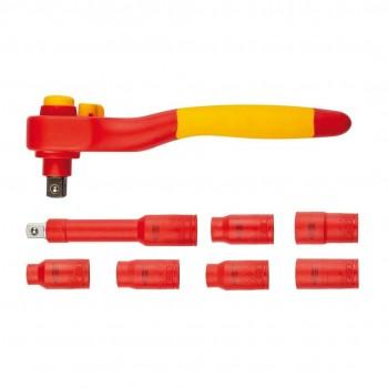 """Hylssats 1/2"""" 1000V 10-19mm, sats 8 delar inkl. spärrskaft, Teng Tools"""