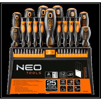 Skruvmejslar och bits, sats 37 delar, magnetiska spetsar, ergonomiskt grepp, Neo Tools