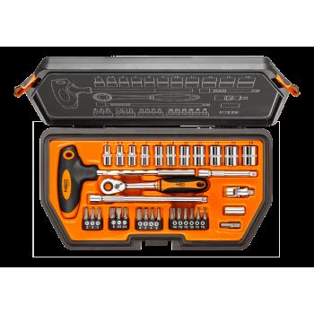 """Hylsnyckelsats 34 delar 1/4"""" CrV, hylsor, bits m.m. Neo Tools"""