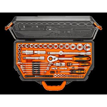 """Hylsnyckelsats 71 delar 1/4"""" 1/2"""" CrV, spline hylsor, spärrhandtag, bits m.m. Neo Tools"""