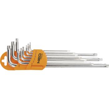 Insexnycklar torx magnetiska, L-nycklar, sats 9 st. T10 - T50, S2, Neo Tools
