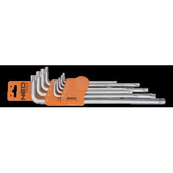 Insexnycklar torx med hål, 5-kantiga L-nycklar, sats 9 st. TS10 - TS50, S2, Neo Tools
