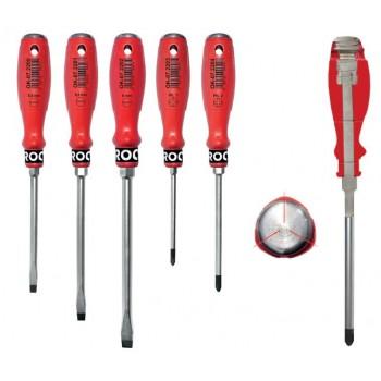 Kraftskruvmejslar, sats 5st, magnetiska, CrVSi 55 HRC, Rooks