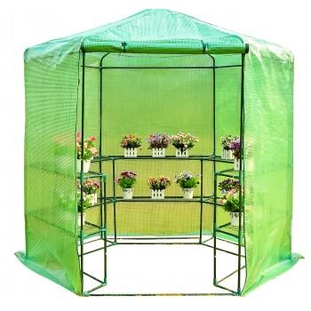 Plastväxthus med hyllor, snygg rund kompaktmodell (sexkantig) diam. 193cm, höjd 225cm grön transparent (odlingstält, växthustält)