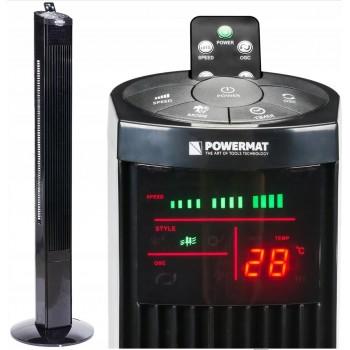 Tornfläkt, pelarfläkt 121cm, tyst exklusiv stående fläkt, golvfläkt med fjärrkontroll, 90W, svart, Powermat Onyx