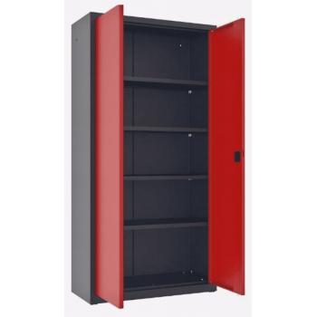 Förvaringsskåp för verkstad och garage, verktygsskåp, pulverlackad metall, 2meter högt, 43,5cm djup, 50-120cm bredd