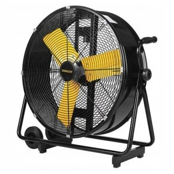"""Kraftfull industrifläkt 61 cm (24"""") 260W, IP12, golvmodell med hjul, 6500 m3/h, svart/gul, Stanley"""